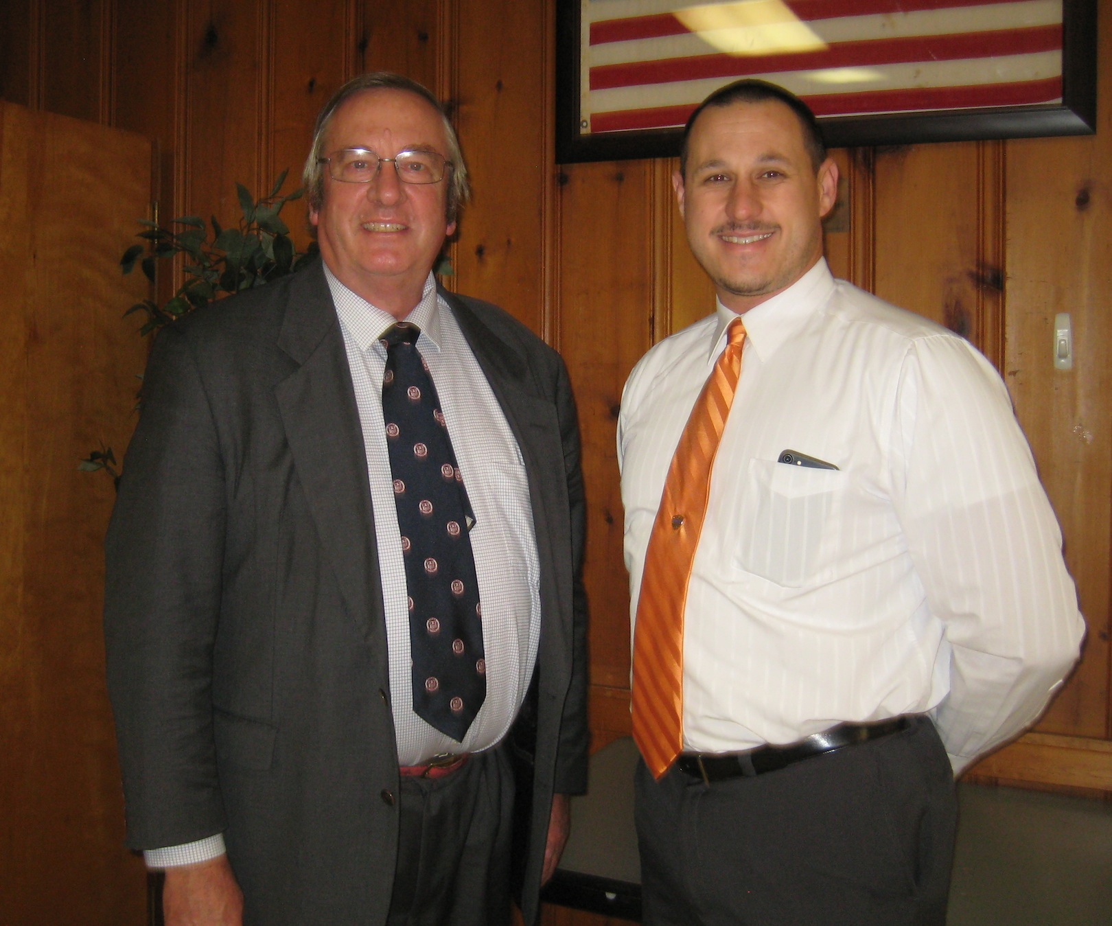From left, Jim Bittner of Bittner Singer Orchards, and John King, who was elected the new president of the Niagara County Farm Bureau. (Submitted photo)