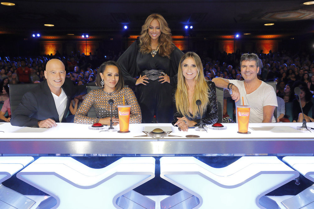 `America's Got Talent`:  Pictured, from left: Howie Mandel, Mel B, Tyra Banks, Heidi Klum and Simon Cowell. (NBC photo by Trae Patton)