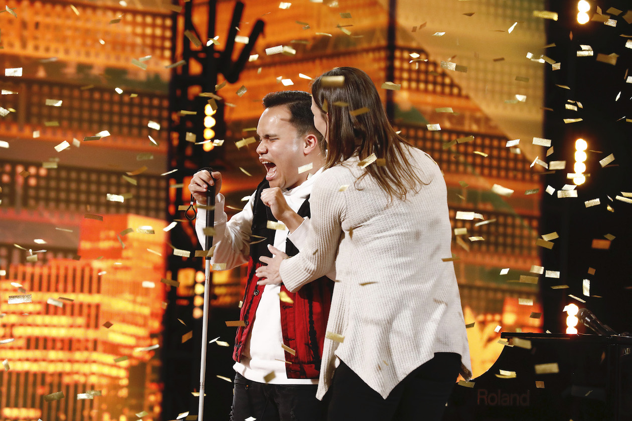 Kodi Lee receives a golden buzzer on `America's Got Talent.` (NBC photo by Trae Patton)