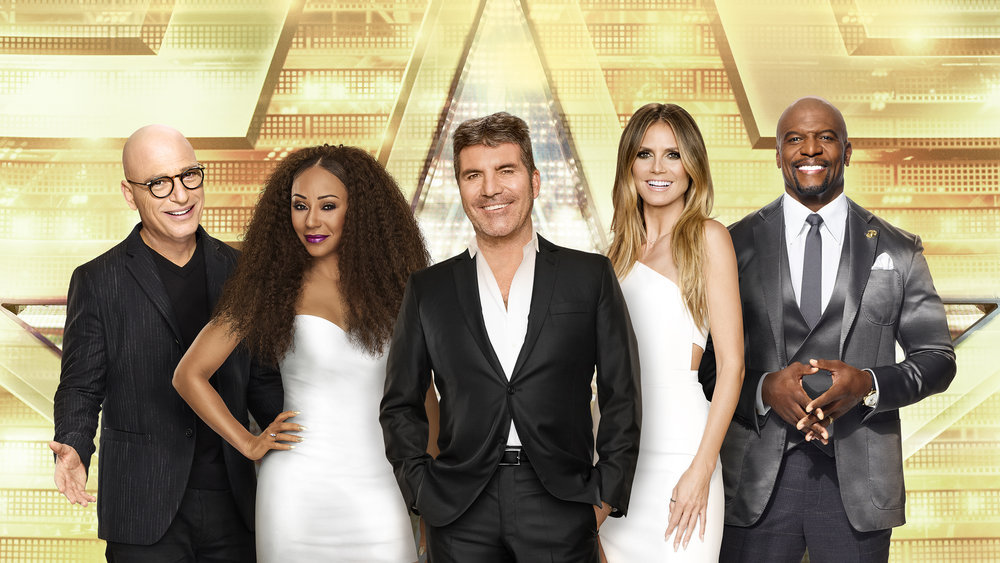 `America's Got Talent: The Champions` - Pictured, from left: Howie Mandel, Mel B., Simon Cowell, Heidi Klum and Terry Crews. (NBC image)