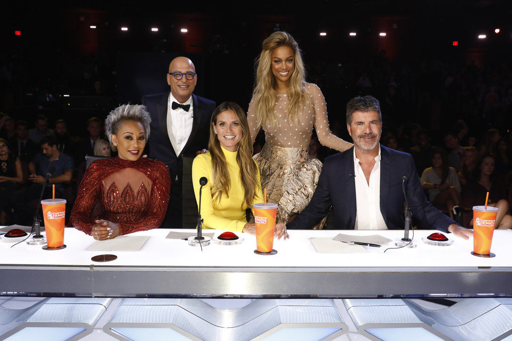`America's Got Talent`: Mel B, Howie Mandel, Heidi Klum, Tyra Banks and Simon Cowell return for a new season this summer. (NBC photo by Trae Patton)