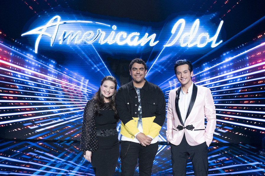 Pictured are the `American Idol` finalists: Madison Vandenburg, Alejandro Aranda and Laine Hardy. (ABC photo by Eric McCandless)