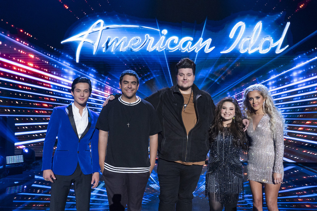 `American Idol` top five Laine Hardy, Alejandro Aranda, Wade Cota, Madison Vandenburg and Laci Kaye Booth (ABC photo by Eric McCandless)