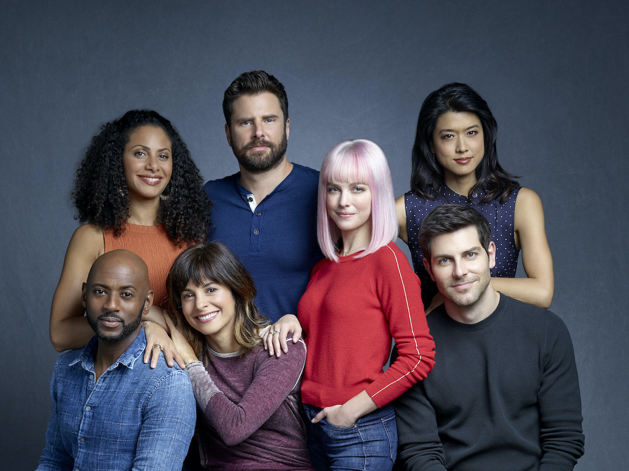 ABC's `A Million Little Things` stars Romany Malco as Rome Howard, Christina Moses as Regina Howard, Stephanie Szostak as Delilah Dixon, James Roday as Gary Mendez, Allison Miller as Maggie Bloom, Grace Park as Katherine Saville and David Giuntoli as Eddie Saville. (ABC photo by Robert Trachtenberg)
