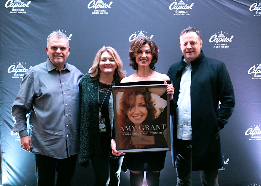From left: Peter York, CCMG chairman and CEO; Jennifer Cooke, manager; Amy Grant; Brad O'Donnell, CCMG co-president. (Photo credit: Capitol Christian Music Group)