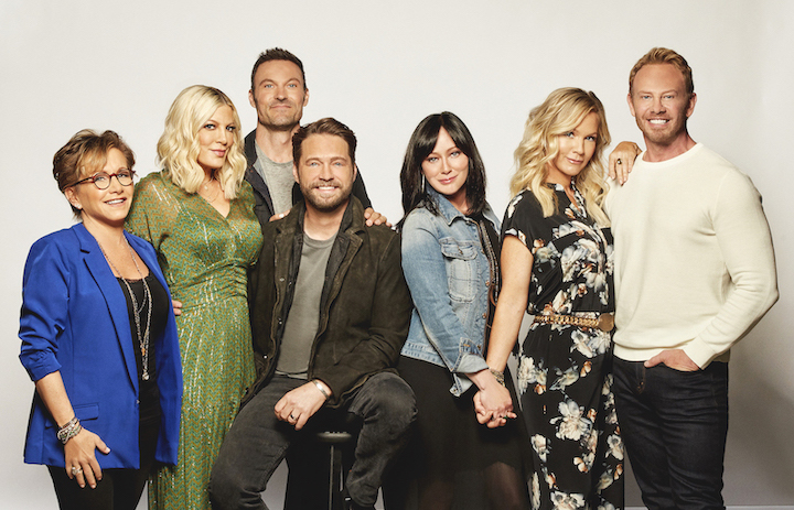Gabrielle Carteris, Tori Spelling, Brian Austin Green, Jason Priestley, Shannen Doherty, Jennie Garth and Ian Ziering star on `BH90210,` the six-episode event series on FOX. (Photo ©2019 Fox Media LLC Cr: Brian Bowen Smith)