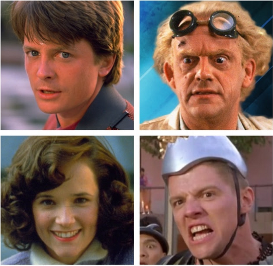 Clockwise, from left: `Back to the Future` stars Michael J. Fox, Christopher Lloyd, Tom Wilson and Lea Thompson. (Images courtesy of Torchwood PR/Fan Expo Canada)
