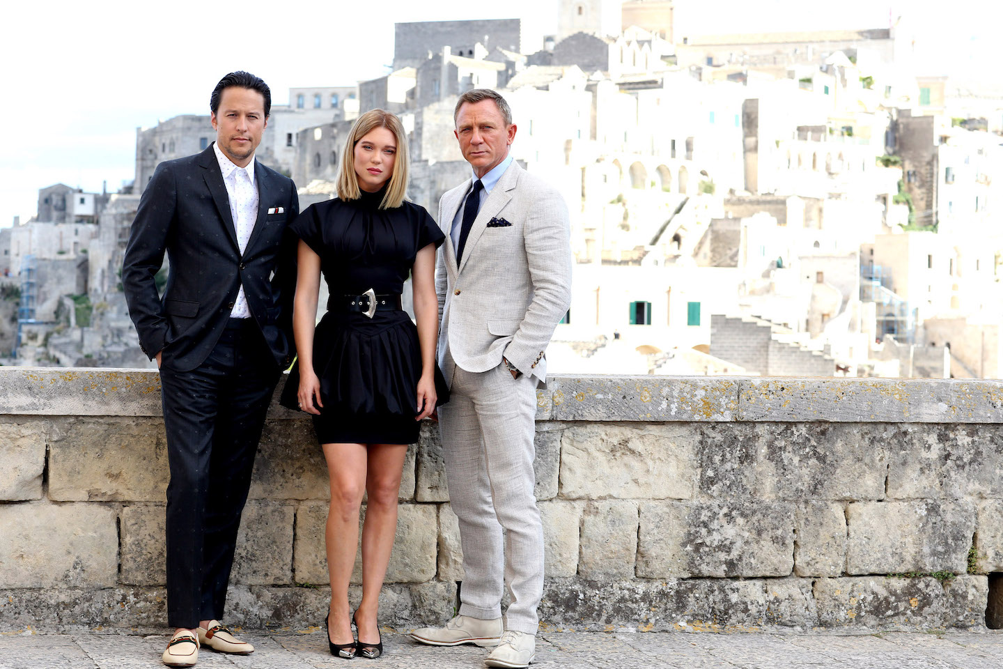 Daniel Craig (James Bond), Léa Seydoux (Madeleine Swann) and director Cary Joji Fukunaga arrive in Matera, Italy, to continue filming `No Time To Die.` (Photo copyright: Franco Origlia; provided by EPK.TV)