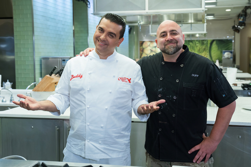 Buddy Valastro and Duff Goldman on Food Network's special `Buddy vs. Duff` limited-run series. (Photo courtesy of Food Network)