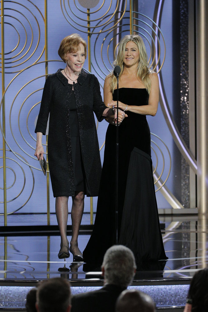 Carol Burnett, left, and Jennifer Aniston were presenters at the 75th Annual Golden Globe Awards held at the Beverly Hilton Hotel on Jan. 7. (NBC photo by Paul Drinkwater)