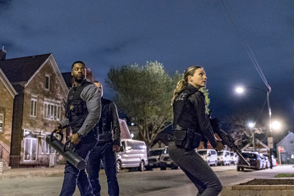 `Chicago P.D.`: Pictured in the `Fork In The Road` episode are, from left: LaRoyce Hawkins as Kevin Atwater and Tracy Spiridakos as Hailey Upton. (NBC photo by Matt Dinerstein)