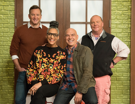 `The Chew` airs at 1 p.m. weekdays on the ABC Television Network. Pictured are hosts Clinton Kelly, Carla Hall, Michael Symon and Mario Batali. (ABC photo by Lorenzo Bevilaqua)