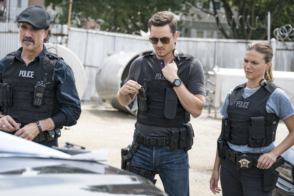 `Chicago P.D.` From left, Elias Koteas as Alvin Olinksy, Jesse Lee Soffer as Jay Halstead and Tracy Spiridakos as Det. Hailey Upton. (NBC photo by Matt Dinerstein)