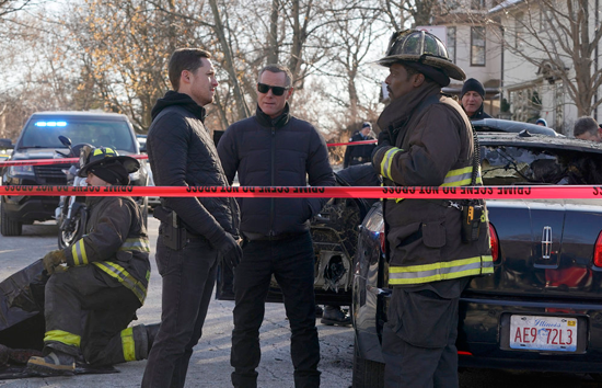 `Chicago Fire` `Hiding Not Seeking`: Pictured, from left: Jesse Lee Soffer as Jay Halstead, Jason Beghe as Hank Voight and Eamonn Walker as Wallace Boden. (NBC photo by Elizabeth Morris/NBC)