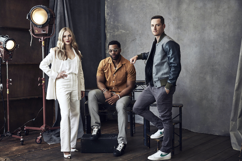 Pictured at last year's NBCUniversal upfront event/upfront portrait Studio are `Chicago P.D.` stars Tracy Spiridakos, LaRoyce Hawkins and Jesse Lee Soffer. (NBC photo by Maarten de Boer)