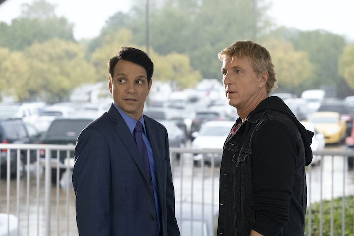 `Cobra Kai` features original `The Karate Kid` stars Ralph Macchio, left, as Daniel LaRusso, and William Zabka as Johnny Lawrence. (Cr. Curtis Bonds Baker/Netflix © 2020)