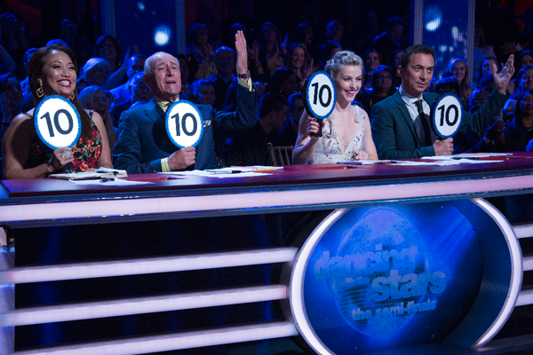 `Dancing with the Stars` judges Carrie Ann Inaba, Len Goodman, Julianne Hough and Bruno Tonioli. (ABC photo by Eric McCandless)