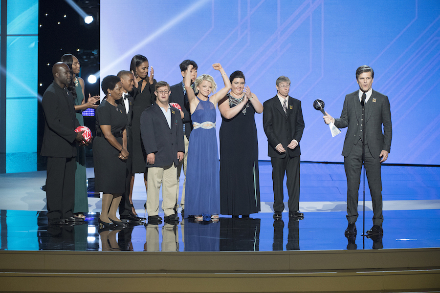 `The 25th ESPYS`: Former first lady Michelle Obama honored the late Eunice Kennedy Shriver with the Arthur Ashe Courage Award for her work in founding the Special Olympics. Shriver's son, Timothy, accepted the award on the ABC special. (ABC/Image Group LA)