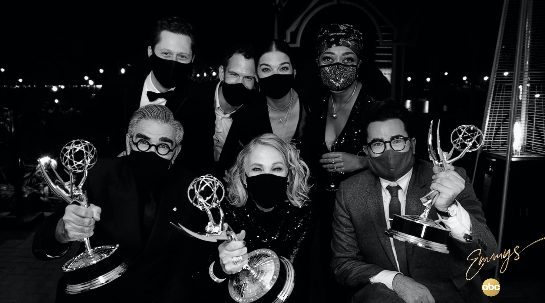 The 72nd Emmy Awards on ABC: `Schitt's Creek` cleaned house in the comedy categories. Pictured are cast members Eugene Levy, Catherine O'Hara, Dan Levy, Noah Reid, Andrew Cividino, Annie Murphy and Karen Robinson. (ABC photo by Frank Ockenfels)