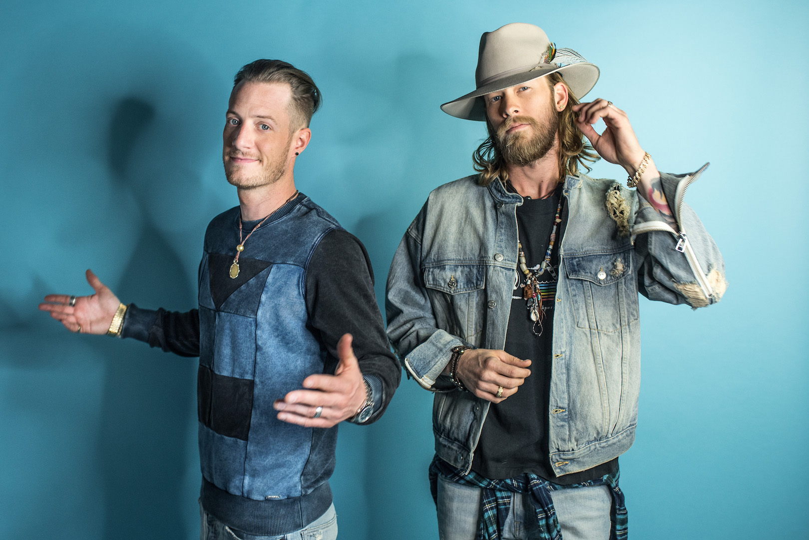 Tyler Hubbard, left, and Brian Kelley of Florida Georgia Line. (Photo by Delaney Royer)