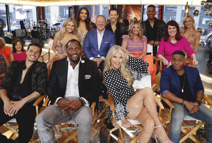 The cast of `Dancing with the Stars` was revealed on `Good Morning America.` Pictured are Gleb Savchenko, Witney Carson, Ray Lewis, Daniella Karagach, Sean Spicer, Pasha Pashkov, Christie Brinkley, Lauren Alaina, Brandon Armstrong, Kate Flannery and Kel Mitchell. (Walt Disney Television photo by Lou Rocco)