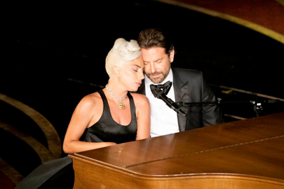 Lady Gaga and Bradley Cooper perform on the Oscar stage. (Photo credit: ABC/Ed Herrera)