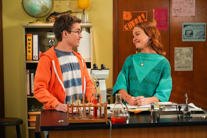 Adam tries to win over his crush, Brea, at William Penn Academy. Pictured on `The Goldbergs,` are Sean Giambrone and Sadie Stanley. (ABC photo by Richard Cartwright)