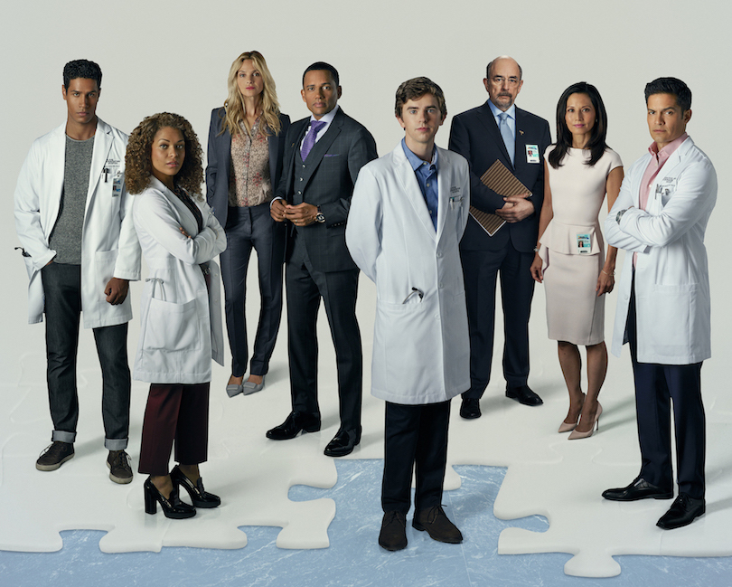 `The Good Doctor` - ABC's `The Good Doctor` stars Chukuma Modu as Dr. Jared Kalu, Antonia Thomas as Dr. Claire Browne, Beau Garrett as Jessica Preston, Hill Harper as Dr. Marcus Andrews, Freddie Highmore as Dr. Shaun Murphy, Richard Schiff as Dr. Aaron Glassman, Tamlyn Tomita as Allegra Aoki and Nicholas Gonzalez as Dr. Neil Melendez. (ABC photo by Bob D'Amico)