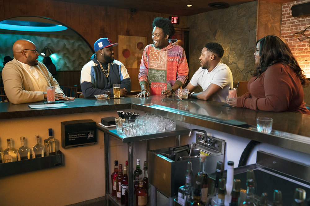 Pictured, from left, in the `Grand Crew` pilot: Justin Cunningham as Wyatt, Carl Tart as Sherm, Echo Kellum as Noah, Aaron Jennings as Anthony and Nicole Byer as Nicky. (NBC photo by Justin Lubin)