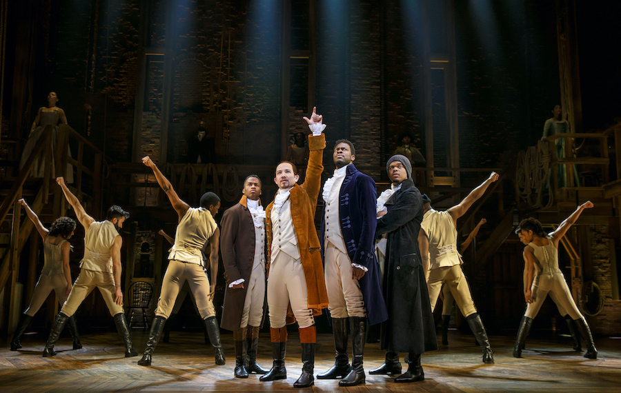 `Hamilton` National Tour stars Elijah Malcomb, Joseph Morales, Kyle Scatliffe, Fergie L. Philippe and Company. (Photo by Joan Marcus/provided by Shea's Performing Arts Center)