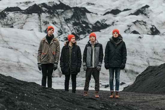 Hawk Nelson in Iceland: (L to R) David Niacaris, Jonathan Steingard, Daniel Biro and Micah Kuiper.