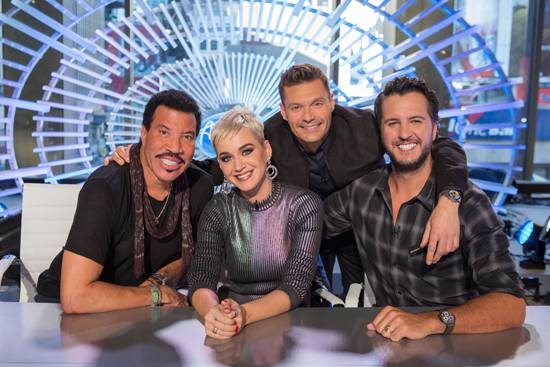 `American Idol`: ABC's `American Idol` judges Lionel Richie, Katy Perry and Luke Bryan with host Ryan Seacrest. (ABC/Eric Liebowitz)