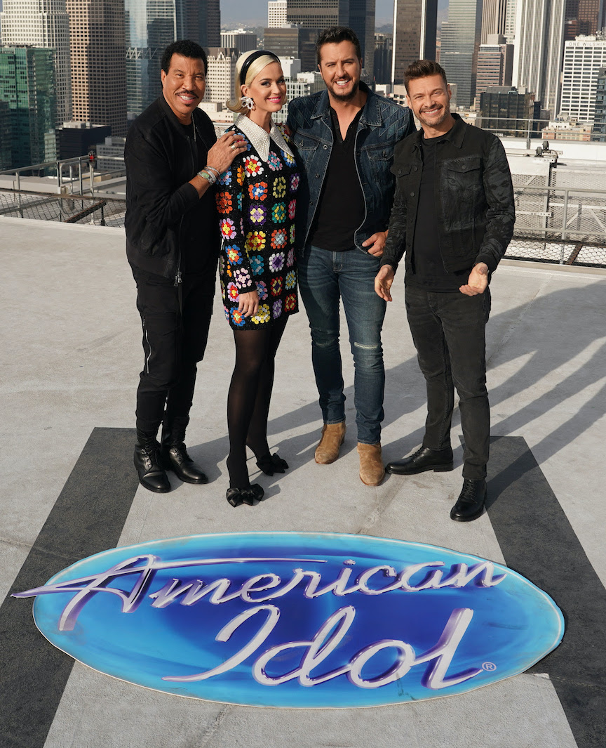 From left: `American Idol` judges Lionel Richie, Katy Perry and Luke Bryan with host Ryan Seacrest. (ABC photo by Eric McCandless)