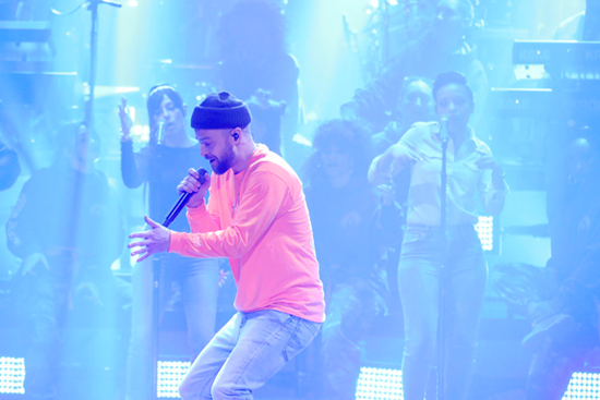Following his performance at Super Bowl LII, Justin Timberlake visited his good friend Jimmy Fallon to perform on `The Tonight Show.` Here, he is shown singing `Supplies.` Fallon hosted a special episode live from the Orpheum Theater in Minneapolis. `The Tonight Show` airs at 11:35 p.m. weeknights on NBC. (Photo by Andrew Lipovsky/NBC)