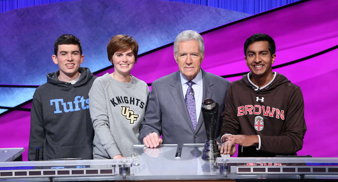 Alex Trebek with the finalists: William Scott, Hannah Sage and Dhruv Gaur. (Photo courtesy of Jeopardy Productions Inc.)