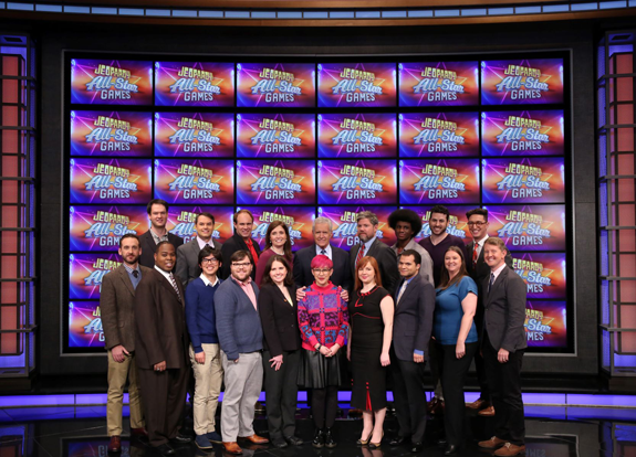 Shown are the all-star `Jeopardy!` contestants with host Alex Trebek. (Photo courtesy of Jeopardy Productions Inc.)