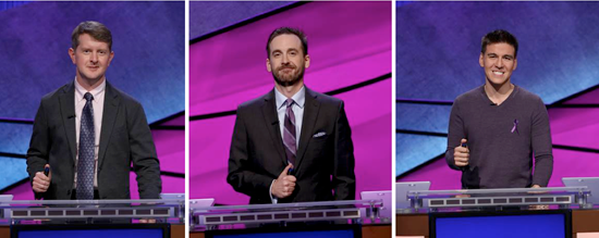 The best of the best will compete on `JEOPARDY!`: Ken Jennings, Brad Rutter and James Holzhauer. (Photo credit: Jeopardy Productions Inc., provided by ABC)