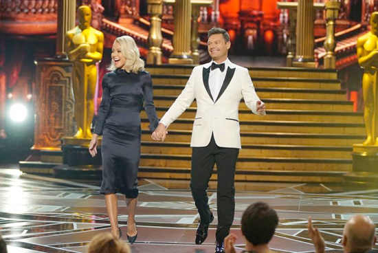Kelly Ripa and Ryan Seacrest during the 2018 edition of `Live's After Oscar Show.` (Photo by Eric McCandless/Disney|ABC Home Entertainment and TV Distribution)