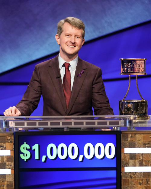 Ken Jennings is triumphant. (ABC photo by Eric McCandless)