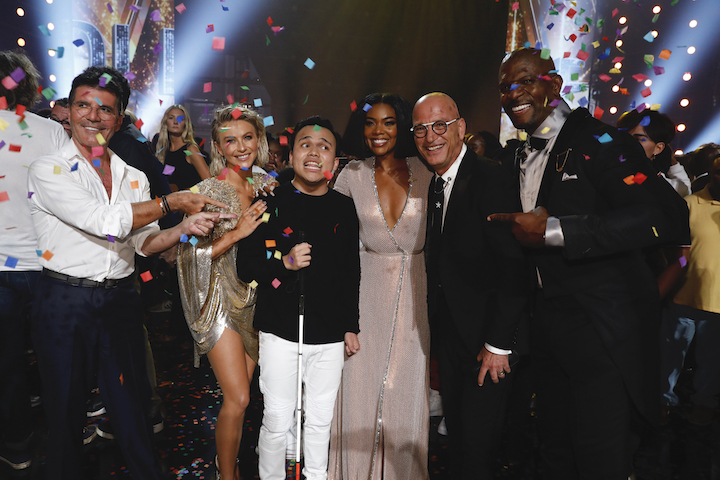 `America's Got Talent` Pictured, from left: Simon Cowell, Julianne Hough, Kodi Lee, Gabrielle Union, Howie Mandel and Terry Crews. (NBC photo by Trae Patton)