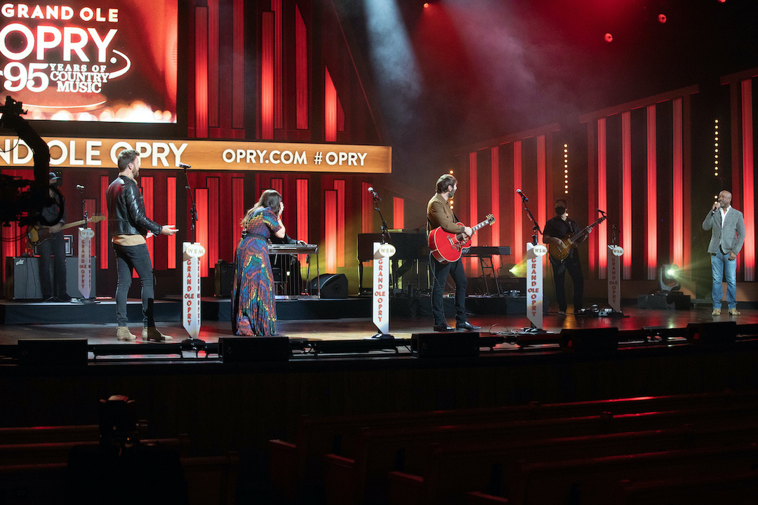 Charles, Hillary & Dave (Lady A) respond to their Opry Membership invitation by Opry Member Darius Rucker. (Photo by Chris Hollo for the Grand Ole Opry/courtesy of Schmidt Relations)