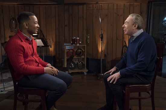 John Legend, left is pictured with Andrew Lloyd Webber. (NBC photo)