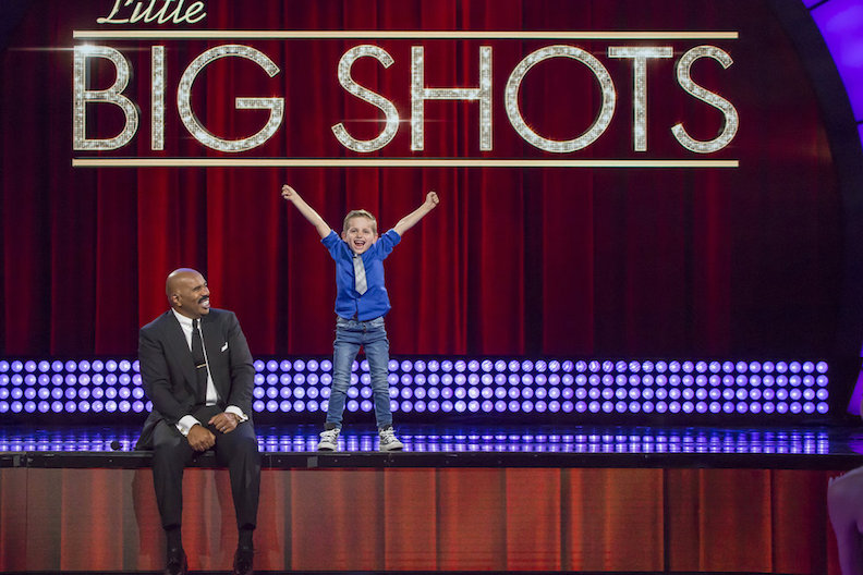 `Little Big Shots`: Steve Harvey chats with Nathan. (NBC photo by Ron Batzdorff)