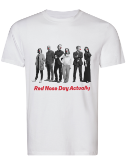 The `Love Actually`/`Red Nose Day Actually` T-shirt in support of the campaign includes cast members Rowan Atkinson, Marcus Brigstocke, Thomas Brodie-Sangster, Chiwetel Ejiofor, Hugh Grant, Keira Knightley, Andrew Lincoln, Martine McCutcheon, Lúcia Moniz, Liam Neeson, Bill Nighy and Olivia Olson. (Photo courtesy of Sunshine Sachs)