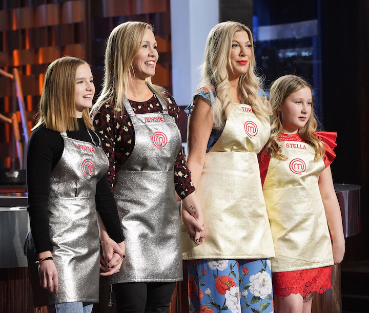 Competing on `MasterChef Celebrity Family Showdown` are, from left, Fiona and her mother, Jenny Garth, and Tori Spelling and her daughter, Stella. The two-night special airs Wednesdays, May 15 and 22. (©Fox Media LLC photo by Greg Gayne)