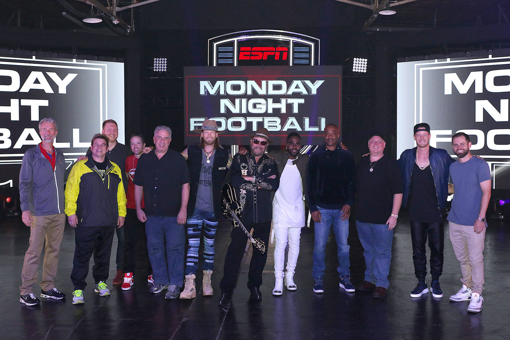 Pictured, from left: Robert Toms (ESPN), Michael `Spike` Szykowny (Habana Avenue), Lucas Nickerson (Habana Avenue), Steven J. Levy (Habana Avenue), Ken Levitan (Vector Management), Brian Kelley (Florida Georgia Line), Hank Williams Jr., Jason Derulo, Frank Harris (23 Management), Kirt Webster (Webster Public Relations), Tyler Hubbard (Florida Georgia Line) and Seth England (Big Loud Mountain). (Photo by Jeremy Westby, Webster PR)