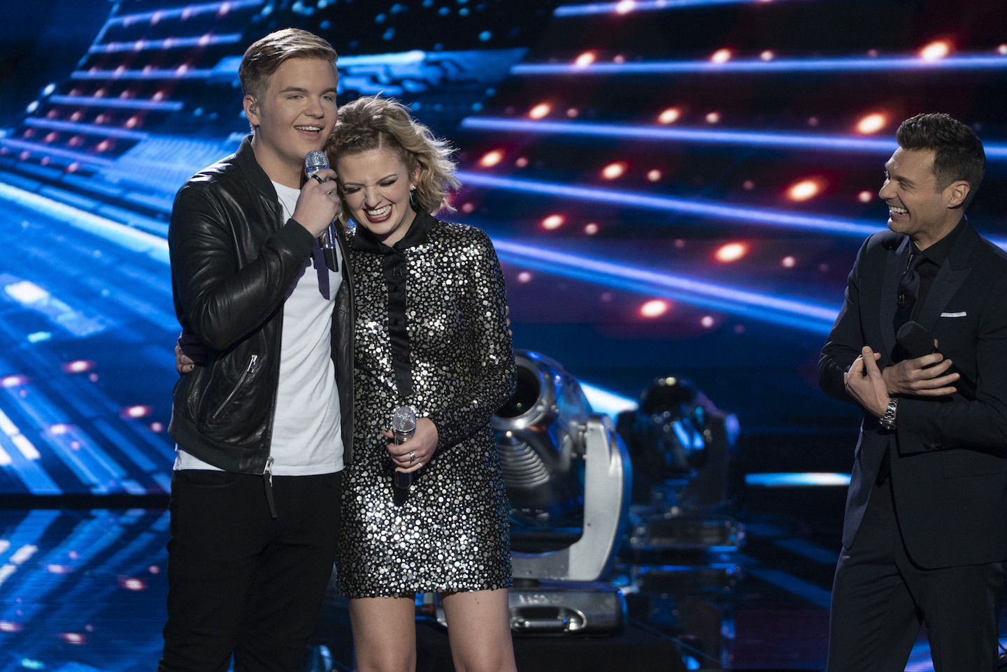 `American Idol`: Following performances by music superstars and legends, including the `American Idol` judges, the winner of season 1 of `American Idol` on ABC was crowned on Monday. Pictured, from left: Caleb Lee Hutchinson, Maddie Poppe and Ryan Seacrest. (ABC photo by Eric McCandless)
