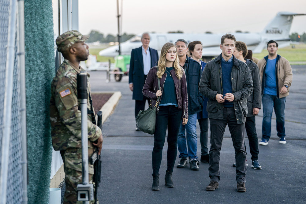 Michaela (Melissa Roxburgh) and Ben Stone (Josh Dallas) try to figure out why -- and how -- their plane went missing for five years. (NBC Photo by Peter Kramer)