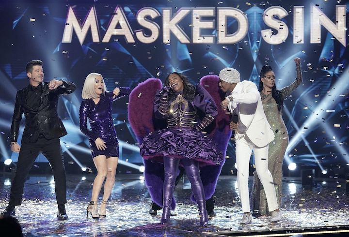 `The Masked Singer`: From left: Robin Thicke, Jenny McCarthy, Kandi Burruss, Nick Cannon and Nicole Scherzinger in the `Couldn't Mask For Anything More: The Grand Finale!` season finale episode on FOX. (CR: Michael Becker / FOX. © 2020 FOX Media LLC.)