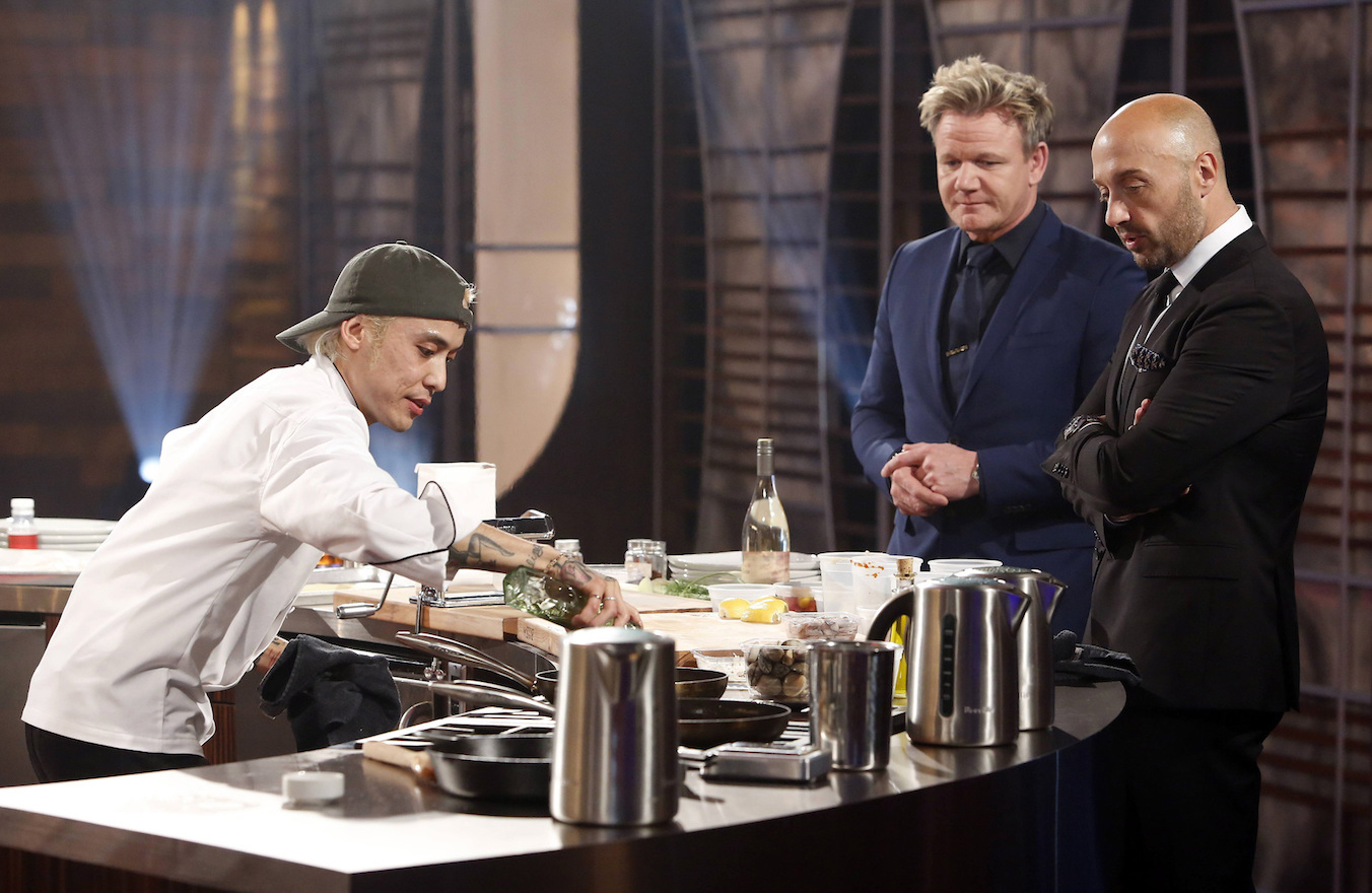`MasterChef`: Contestant Dino with host/judge Gordon Ramsay and judge Joe Bastianich in the all-new `The Finale, Pt. 1/The Finale, Pt. 2` two-hour season finale episode airing Wednesday, Sept. 20 (8-10 p.m.) on FOX. Bastianich is returning to judge `MasterChef Junior.` (Photo credit: Greg Gayne/FOX)
